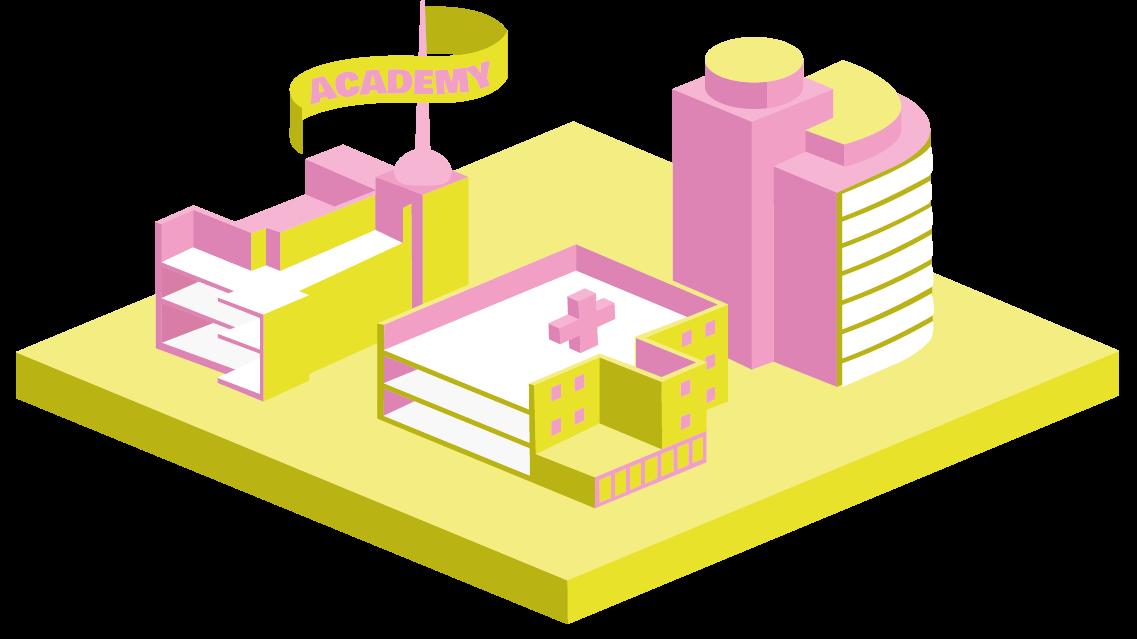 Ilustracja trójwymiarowa przedstawiająca szpital, Akademię Sztuk Pięknych i firmę współpracującą